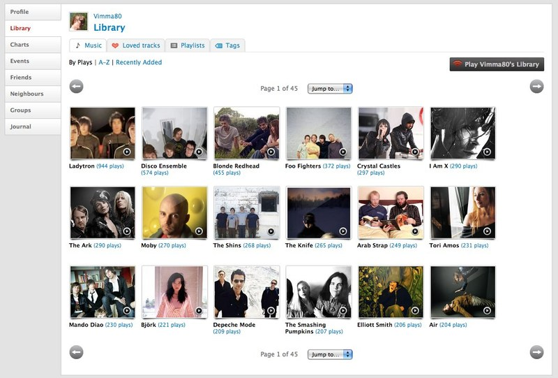 Last.fm Library View