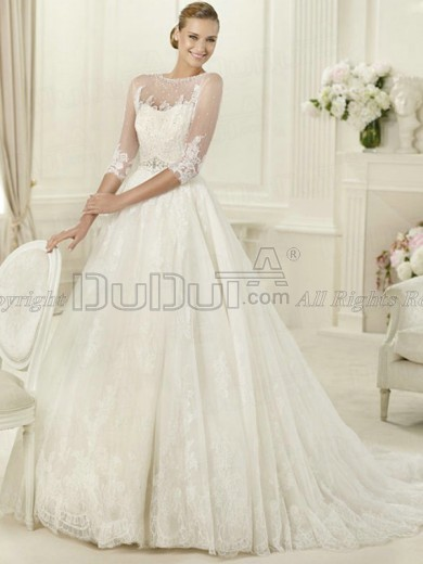 Ball Gown Lace Straps 3/4 Length Sleeve Sweep Bowknot Beading We