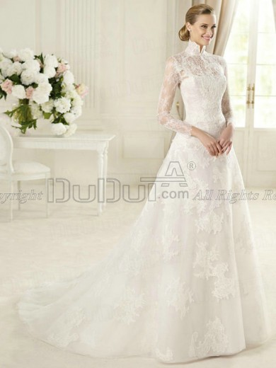 A Line Lace High Neck Long Sleeve Sweep Bowknot Wedding Dresses