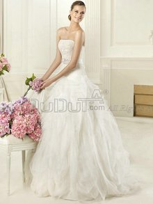 Ball Gown Organza Tube Top Strapless Zipper Sweep Lace Ruffle Be