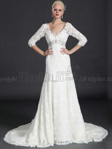 A-line Lace V-neck Buttons 3/4 Length Sleeve Sweep Beading Weddi