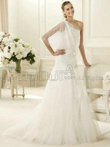 Mermaid/Trumpet Lace One shoulder Half Sleeve Sweep Flower Weddi