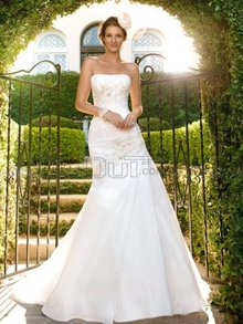 Mermaid/Trumpet Strapless Tube Top Sweep Garden/ Outdoor Wedding