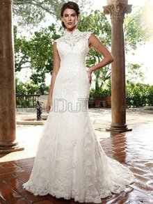 A-Line High Neck Sleeveless Sweep Wedding Dresses With Embroider