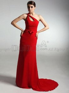 Sheath/Column One shoulder Sleeveless Sweep Chiffon Satin Celebr