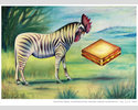 Rooster Zebra Contemplating Grilled-cheese Sandwich -M. Forderer